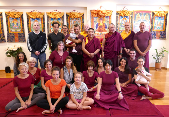 Lama Pasang and Lama Dondrup Dorje Rinpoche with students at the Pathgate Centre in Athens