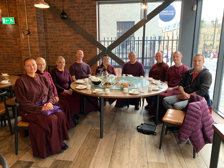 Lama Pasang and Lama Dondrup Dorje Rinpoche with students in Newcastle, England