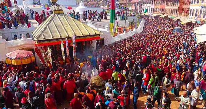 Devotees entering Dzongnang Monastery in Nepal