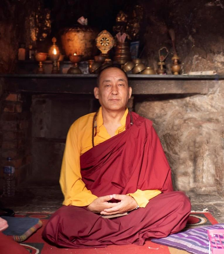 Khenpo Nyima Dondrup Rinpoche at the Asura Cave, Pharping