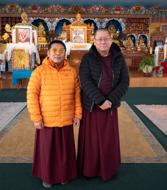 Lama Pasang with Lama Dondrup Dorje Rinpoche in the Upstate New York Retreat Center shrineroom