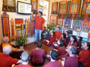 Students learning the Tibetan alphabet