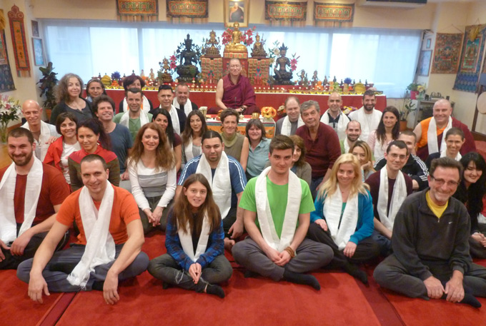 Ven. Lama Dondrup Dorje with students at the Pathgate Dharma Centre in Athens, Greece
