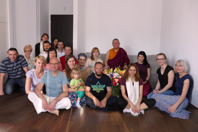 Ven. Lama Dondrup Dorje with students in Poland