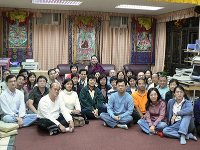 Lama Dondrup Dorje with students from Hong Kong