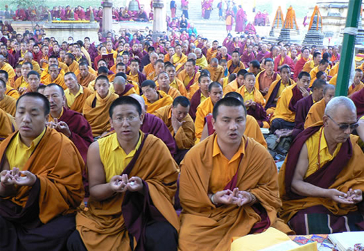 Monks performing Mandala Offering at the 17th Nyingma Monlam Chenmo, at Bodh Gaya, India.